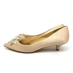 Badgley Mischka Kitten Heels Jeweled Fabric Shoes